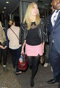 Fearne cotton leaves celebrity juice in a baby pink skirt and with a