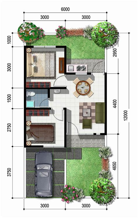 layout plan rumah sketsa rumah type 45 1 lantai model minimalis tempat