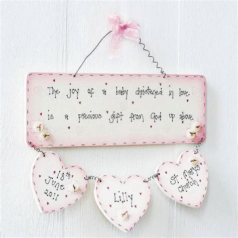 personalised handmade christening plaque keepsake by