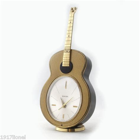 vintage swiza quot guitar quot musical alarm clock clocks alarm clocks clocks and guitars