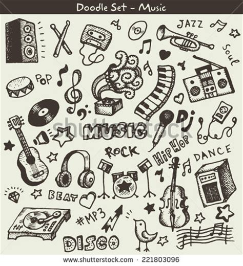 musical doodle free vector doodles vector stock vector 221803096