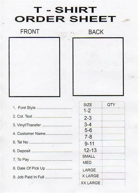 T Shirt Order Form Template by Forge Colour Print Centre Shirt Printing
