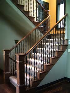 Iron Spindles Wood Staircases With Iron Balusters