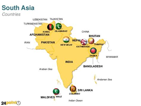 south asia map countries and capitals powerpoint map of south asian countries