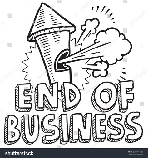 doodle ending doodle style end of business illustration in vector format