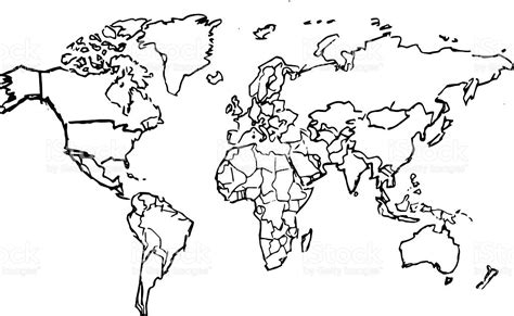 line drawing map black pencil drawing sketched world map on white