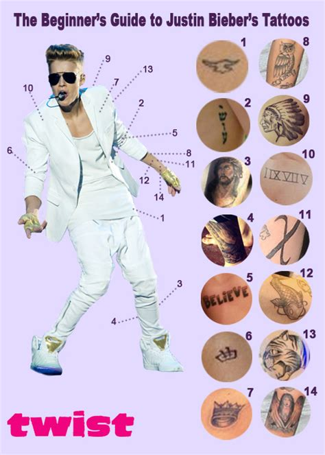 the beginner s guide to justin bieber s many tattoos twist