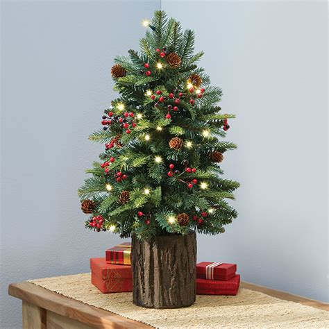google holiday living mini christmas trees the tabletop prelit tree hammacher schlemmer