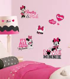 Minnie Mouse Wall Sticker New Disney Minnie Mouse Loves Pink Wall Decals Black White