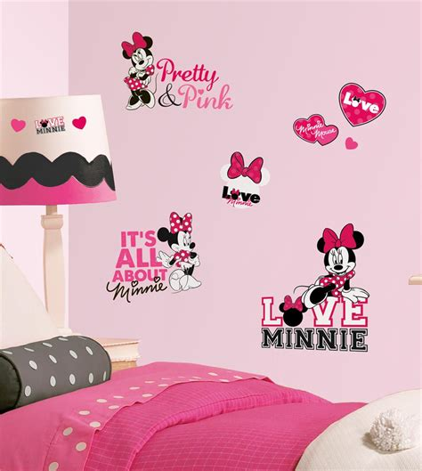 minimalist bedroom with minnie mouse pink black