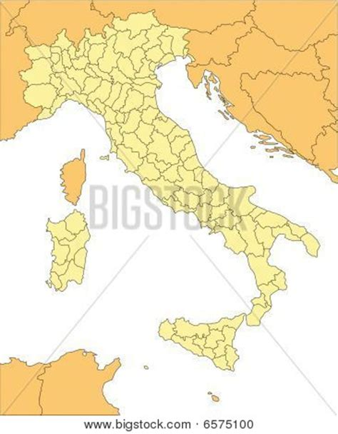 map of italy and surrounding countries italy map with administrative district and surrounding