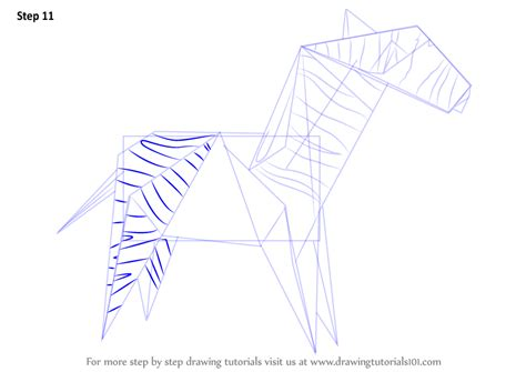 Origami Zebra - learn how to draw an origami zebra everyday objects step