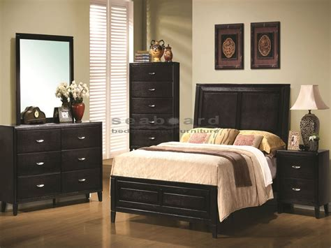 black bedroom sets queen nacey black walnut piece king