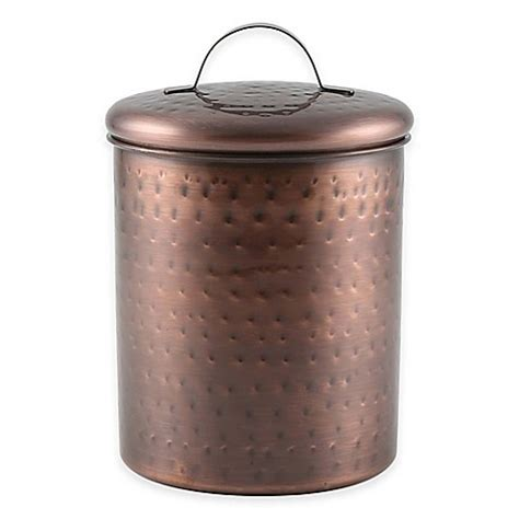 copper canister for a kitchen barh and beyond in greenville nc thristystone 174 hammered copper finish canister bed bath beyond