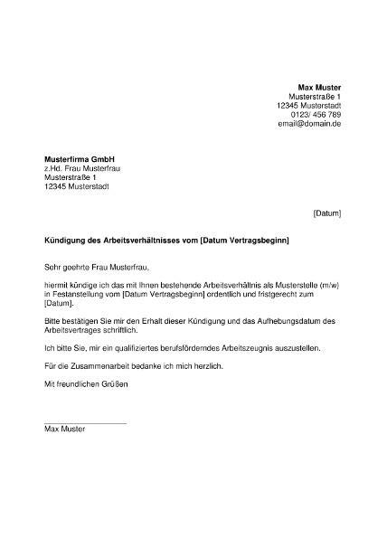 K Ndigung Musterschreiben muster k 252 ndigung arbeitsvertrag word bewerbung