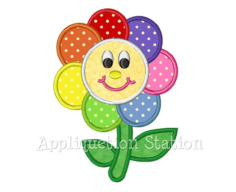 free applique downloads rainbow flower applique machine embroidery design smiley