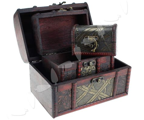 Wooden Pirate Storage Box Vintage Treasure Chest 3 pieces wooden pirate vintage treasure chest jewellery storage box holder ebay