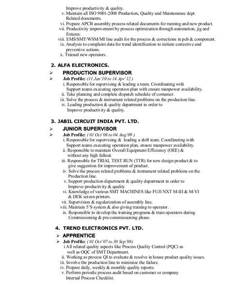 smt operator resume prashant resume