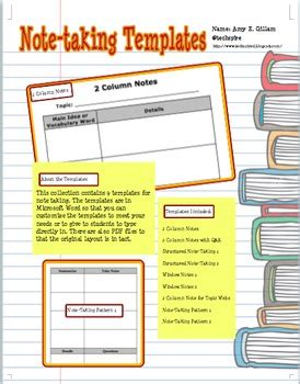 note taking templates for college note taking templates note school and college