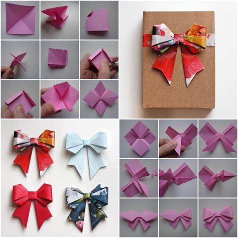 Origami Bow - how to diy origami paper gift bow