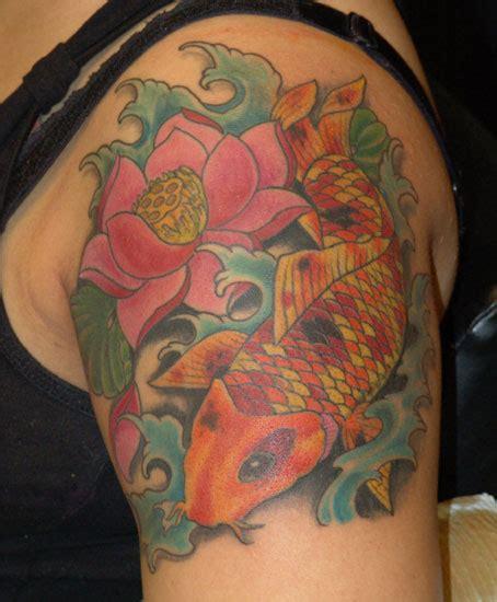 japanese tattoo on black skin koi lotus by anthony lawton tattoonow