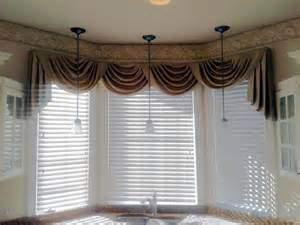 Tuscany Home Decor swag curtain valance over wood blinds swag curtains