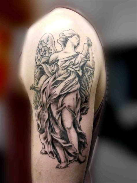 angel tattoo on shoulder guardian tattoos designs