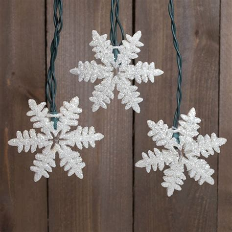 string lights glitter snowflakes 9 ft outdoor plug in warm