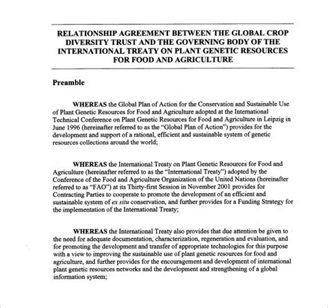 relations agreement template 12 relationship agreement templates to sle