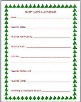 secret santa card template s secret santa questionnaire templates