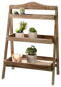 foldable wooden plant stand 3 shelves rustic plant