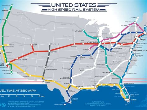 american rail network map map of american high speed rail network business insider