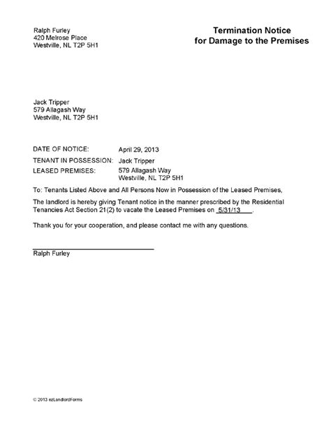 Lease Notice Letter Template nl termination notice for damage to premises ez landlord