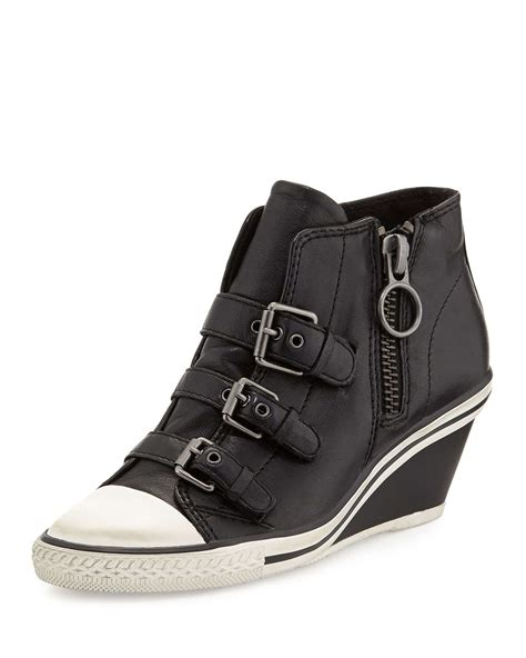leather sneaker boots ash gin bis buckled leather wedge sneaker in black lyst