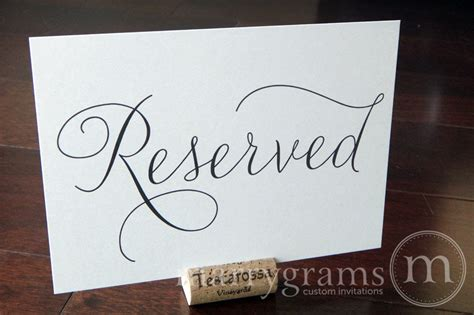 reserved wedding table seating sign thin style