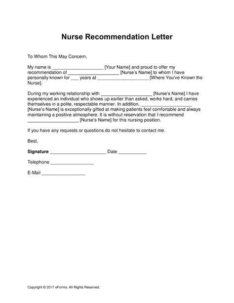 recommendation letter for nurses from doctors