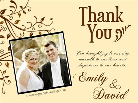 templates for thank you cards weddings wedding thank you card sles 365greetings