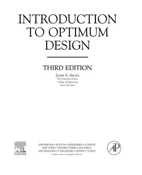 introduction to optimum design books introduction to optimum design pdf available