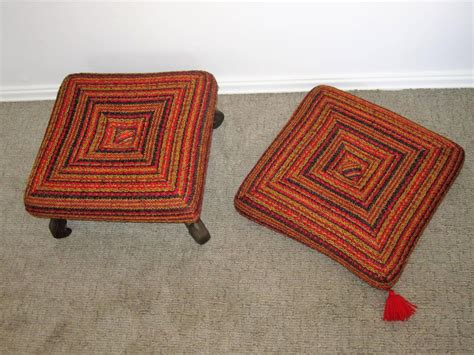 colorful ottomans vintage colorful ottoman bench or stool for sale at 1stdibs
