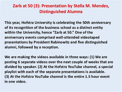 Hofstra Mba Class Profile by Hofstra S Business School At 50 3 Stella Mendes