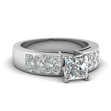 1 50 ct princess cut 2 row wide band engagement