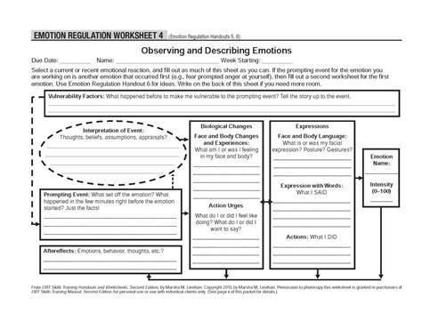 Emotional Regulation Worksheets by Pictures Emotion Regulation Worksheet Dropwin