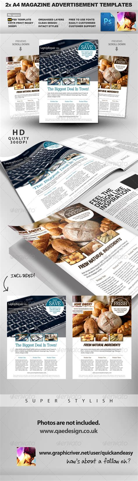 advertising magazine template 2 feature image a4 magazine ad layout by quickandeasy