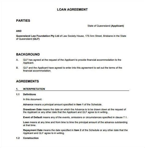 Loan Agreement Letter Between Two Loan Contract Template 26 Exles In Word Pdf Free Premium Templates