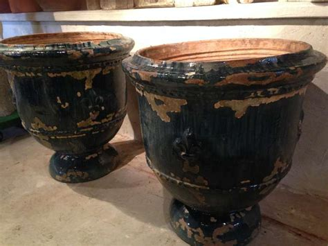 a pair of large glazed terracotta pots for sale antiques pair of huge and rare 19th century french blue glazed