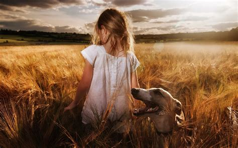 wallpaper girl dog little girl with dog field hd wallpaper wallpapers new