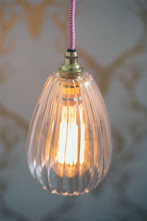 handmade ribbed glass pendant light by glow lighting