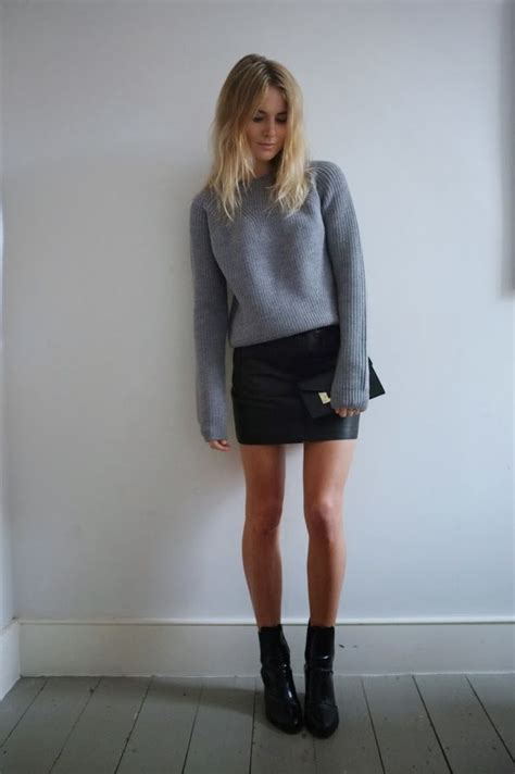 leather skirt and boots dress