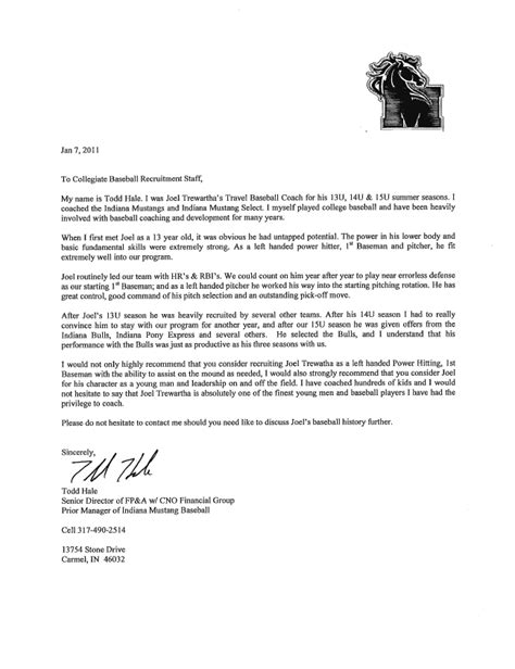 Recommendation Letter For College From Coach Coach Hale S Letter Of Recommendation Joel Trewartha