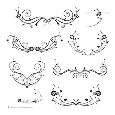 flourish digital clipart vector decorations black retro